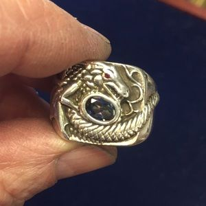Vintage sterling & Gem Dragon ring